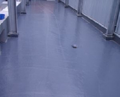 Waterproofed anti-slip concrete floor